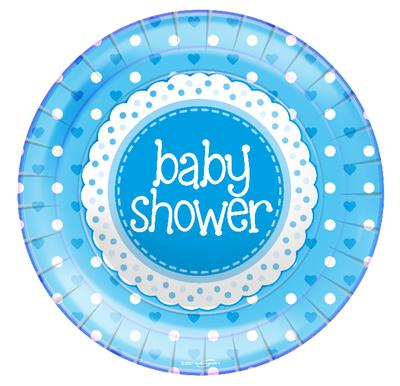 "Baby Shower Blue 9""/23cm Plates 8pcs - Partyware"