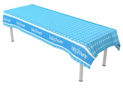 Baby Shower Blue Colourfast Plastic Table Cover 137cm x 2.6m 1pc - Partyware