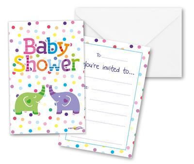 Oaktree Baby Shower Elephants Invites - Partyware