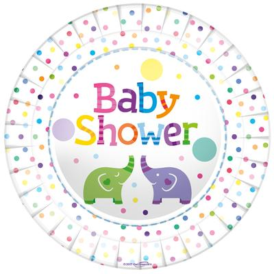 Oaktree Baby Shower Elephants 9inch/23cm Plates 8pcs - Partyware