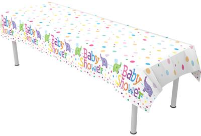 Oaktree Baby Shower Elephants Colourfast Plastic Table Cover 137cm x 2.6m 1pc -