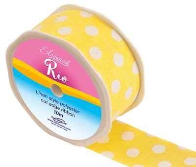 Eleganza Rio Polka Dot 38mm x 10m Yellow No.11 - Ribbons