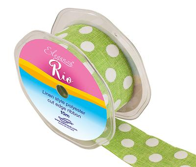 Eleganza Rio Polka Dot 38mm x 10m Lime Green No.14 - Ribbons