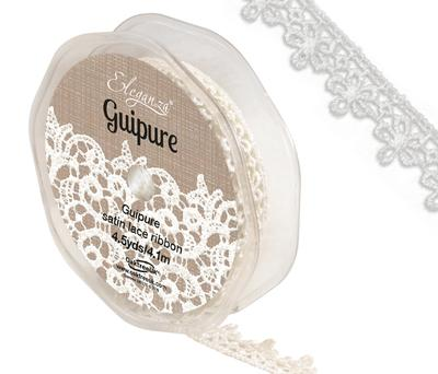Eleganza Guipure Satin Lace 15mm x 4.5yds/4.1m Pattern No.242 White No.01 - Ribbons