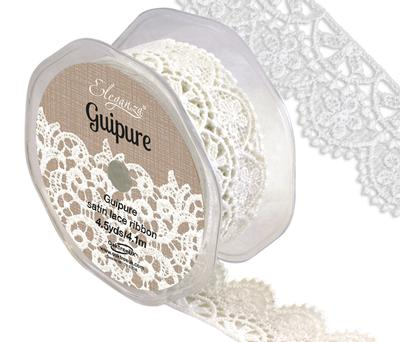 Eleganza Guipure Satin Lace 32mm x 4.5yds/4.1m Pattern No.243 White No.01 - Ribbons