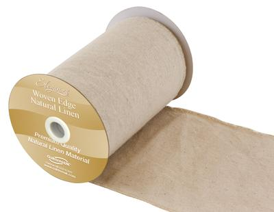 Eleganza Woven Edge Linen Stitched edge 15.2cm x 9.1m Natural No.02 - Organza / Fabric