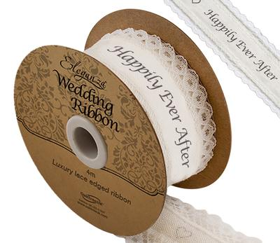 Eleganza Cotton Lace Edge Happily Ever After 38mm x 4m - Ribbons