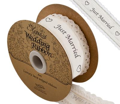 Eleganza Cotton Lace Edge Just Married 38mm x 4m - Ribbons