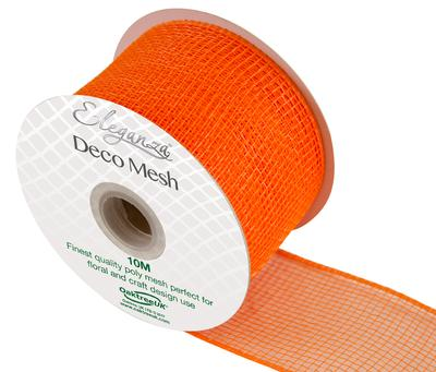 Eleganza Deco Mesh 63mm x 10m Orange No.04 - Organza / Fabric
