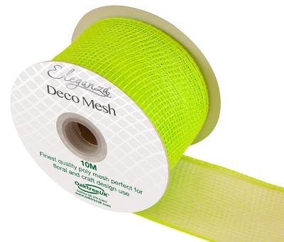 Eleganza Deco Mesh 63mm x 10m Lime Green No.14 - Organza / Fabric