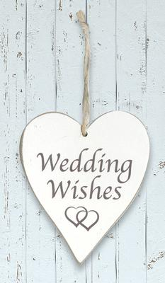 Wooden Heart Whitewash 9cm x 11cm Wedding Wishes 1pc - Accessories