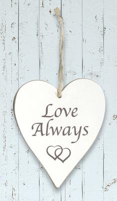 Wooden Heart Whitewash 9cm x 11cm Love Always 1pc - Accessories