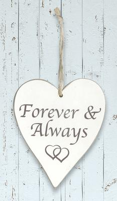 Wooden Heart Whitewash 9cm x 11cm Forever & Always 1pc - Accessories