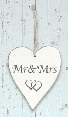 Wooden Heart Whitewash 9cm x 11cm Mr & Mrs 1pc - Accessories