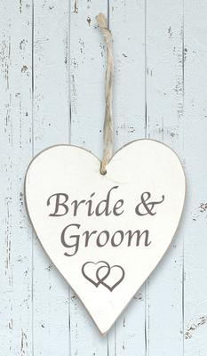 Wooden Heart Whitewash 9cm x 11cm Bride & Groom 1pc - Accessories