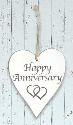 Wooden Heart Whitewash 9cm x 11cm Happy Anniversary 1pc - Accessories