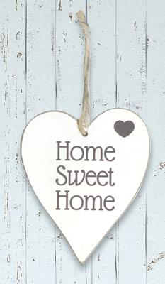 Wooden Heart Whitewash 9cm x 11cm Home Sweet Home 1pc - Accessories