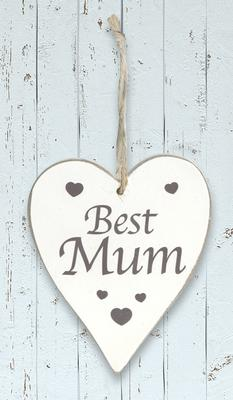 Wooden Heart Whitewash 9cm x 11cm Best Mum 1pc - Accessories