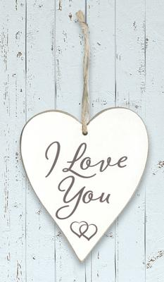 Wooden Heart Whitewash 9cm x 11cm I Love You 1pc - Accessories