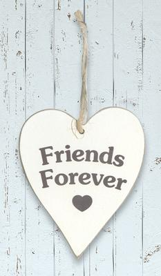 Wooden Heart Whitewash 9cm x 11cm Friends Forever 1pc - Accessories