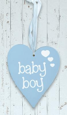 Wooden Heart Pastel Blue 9cm x 11cm Baby Boy 1pc - Accessories