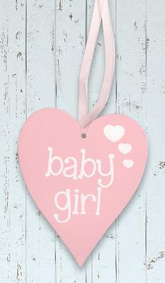 Wooden Heart Pastel Pink 9cm x 11cm Baby Girl 1pc - Accessories