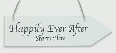 Wooden Arrow Whitewash 30.5cm x 7.6cm Happily Ever After 1pc - Accessories