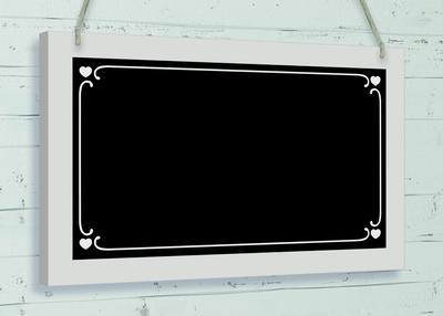 Wooden Black Board w/surround 25cm x 15cm Cornered Hearts 1pc - Accessories