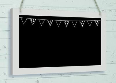 Wooden Black Board w/surround 25cm x 15cm Bunting Header 1pc - Accessories