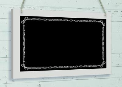 Wooden Black Board w/surround 25cm x 15cm Bow Surround 1pc - Accessories