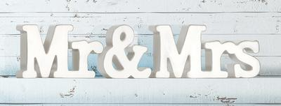 Wooden Mr & Mrs Whitewash 45cm x 10cm 1pc - Accessories