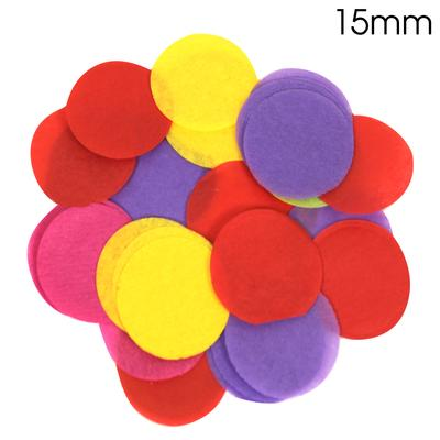 Oaktree Tissue Paper Confetti Flame Retardant Round 15mm x 14g Mixed colours. - Accessories
