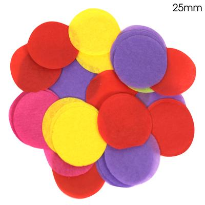 Oaktree Tissue Paper Confetti Flame Retardant Round 25mm x 14g Mixed colours. - Accessories