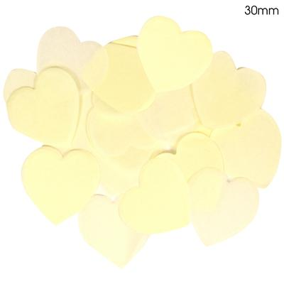 Oaktree Tissue Paper Confetti Flame Retardant Heart 30mm x 100g Ivory - Accessories