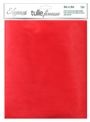 Eleganza Tulle Finesse 3m x 3m 1pc bag Red No.16 - Organza / Fabric