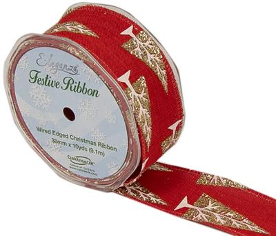 Eleganza Contemporary Christmas Tree Wired Edge 38mm x 9.1m (10 yards) Red/Gold - Christmas Ribbon