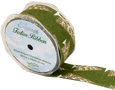 Eleganza Contemporary Christmas Tree Wired Edge 38mm x 9.1m (10 yards) Green/Gold - Christmas Ribbon