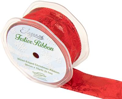 Eleganza Gilded Holly Wired Edge 38mm x 9.1m (10 yards) Red/Metallic Design Red No.371 - Christmas Ribbon