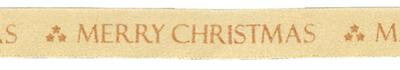 Eleganza Satin Merry Christmas Glitter Woven Edge 25mm x 10m Gold/Rose Gold Design No.373 - Christmas Ribbon