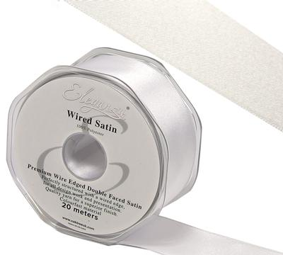 Eleganza Wired Edge Premium Double Faced Satin 25mm x 20m White No.01 - Ribbons