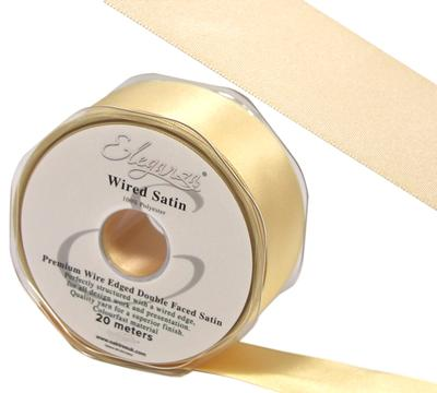 Eleganza Wired Edge Premium Double Faced Satin 25mm x 20m Buttermilk No.08 - Ribbons
