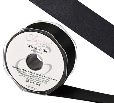 Eleganza Wired Edge Premium Double Faced Satin 25mm x 20m Black No.20 - Ribbons