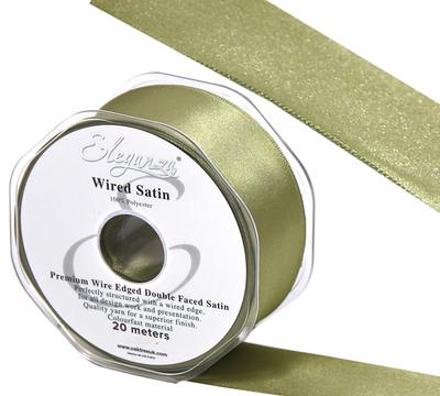 Eleganza Wired Edge Premium Double Faced Satin 25mm x 20m Olive No.94 - Ribbons