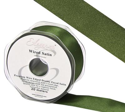 Eleganza Wired Edge Premium Double Faced Satin 25mm x 20m Basil No.57 - Ribbons