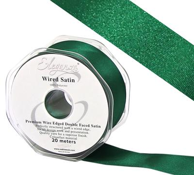 Eleganza Wired Edge Premium Double Faced Satin 25mm x 20m Emerald No.15 - Ribbons
