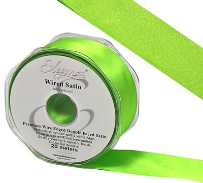 Eleganza Wired Edge Premium Double Faced Satin 25mm x 20m Lime Green No.14 - Ribbons