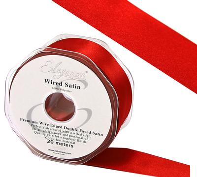 Eleganza Wired Edge Premium Double Faced Satin 50mm x 20m Red No.16 - Ribbons