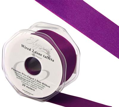 Eleganza Wired Edge Premium Taffeta Electric Purple 38mm x 20m No.71 - Ribbons