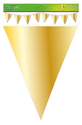 Metallic Solid Colour Bunting 20 flags 20cm x 30cm 10m Gold - Banners & Bunting