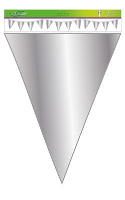 Giant Metallic Solid Colour Bunting 18 flags 30cm x 45cm 10m Silver - Banners & Bunting